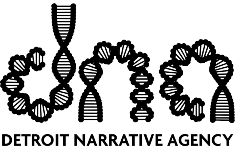 DNA logo in black on white background with letters constructed of double helixes