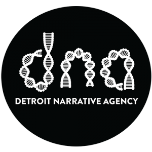 "Detroit Narrative Agency logo with the letters ""dna"" written in a double helix"