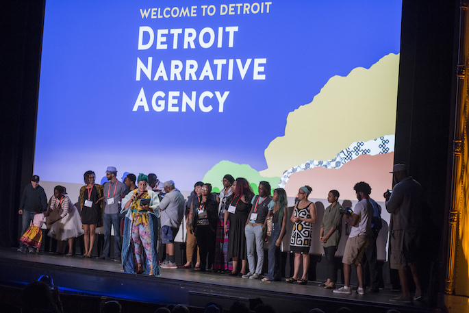 Opening ceremony of the AMC with participants of the Detroit Narrative Agency on stage