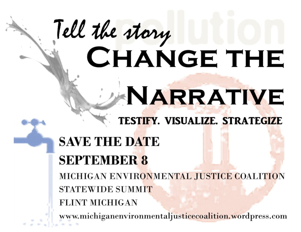 "Flyer for the 2018 MEJC Statewide Summit with the headline text ""Tell the story"" ""Change the Narrative"" ""Testify. Visualize. Strategize."""