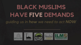 """Title Page with the words """"Black Muslims Have Five Demands: guiding us in how we need to act NOW"""""""