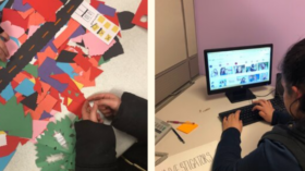 A collage of four photos. The photo in the upper left corner is a young girl cutting pieces of colorful cardstock. In the photo next to it are a group of three young girls conversing over a blank poster. The photo on the lower left corner shows shapes of different cut cardstock and students hands next to them. On the photo next to it is a girl typing at a computer.