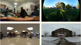 """A collage of 6 photos: From the top left corner, there are three people in an office space standing. In the photo on the top righthand corner there is a green field pictured with tall trees in the middle. In the photo in the middle on the lefthand side there is a scene of a school lunch room with students sitting in chairs. In the photo on the right of it is a snowy scene of an abandoned school building with the words """"Humanize Schooling"""" in the center. The photo on the bottom left corner shows 3 people in an office space working separately at a table. The photo on the right of it shows an orange mosaic stage set in a park with trees in the background."""