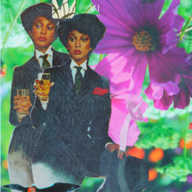 Collage artwork that shows two of the same black women on the left hand side with a bright purple flower and greenery on the right hand side.