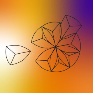 a gradient background with the seeds imagery, which is geometric shapes that look like seeds