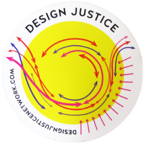 Design Justice logo with a circle and arrows passing through from various directions with an eddy in the middle