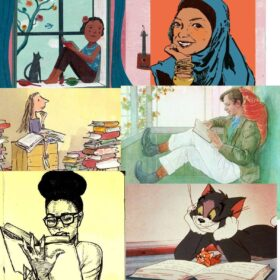 Collage of illustrations from various books