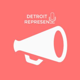 Detroit Represent with loudspeaker icon