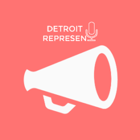 Detroit Represent with loudspeaker icon