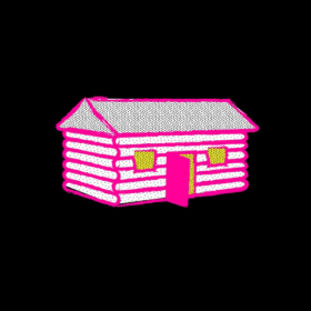 Pink embroidered log cabin