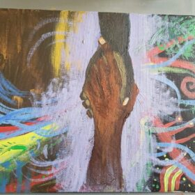 Painting of two hands grasping with swirls of color and energy eminating