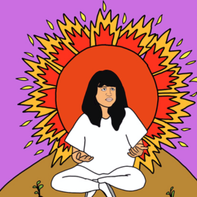 drawing of an asian person sitting on a hill surrounded by the light and energy