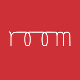 Red background Room logo in cursive
