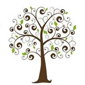 Logo for Awasqa: The Green Network Project of a tree with spiral branches and curly leaves