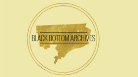 """Text over a faded silhouette of Detroit """"Bringing the Past to the Present and Future"""" """"Black Bottom Archives"""""""