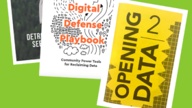 """Three covers of DCTP Library zines """"Opening Data 2"""" """"Digital Defense Playbook"""" and """"Riverwise"""""""