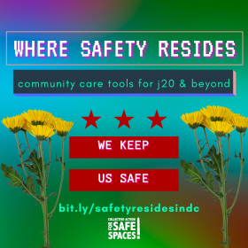 "Dandelions with the title ""Where Safety Resides - community care tools for j20 & beyond"" ""We Keep Us Safe"""