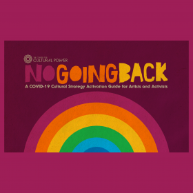 """Blocky, hand drawn title """"No Going Back"""" over a rainbow"""