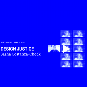 """Title """"Design Justice – Sasha Costanza-Chock"""" with a grid of the podcast guest image"""