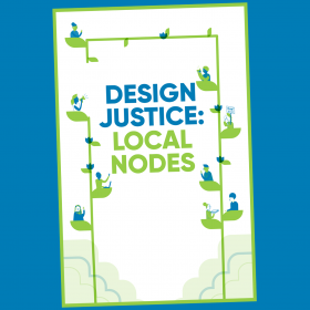 """""""Design Justice: Local Nodes"""" zine cover with illustrations of people sitting on leaves on a vine"""